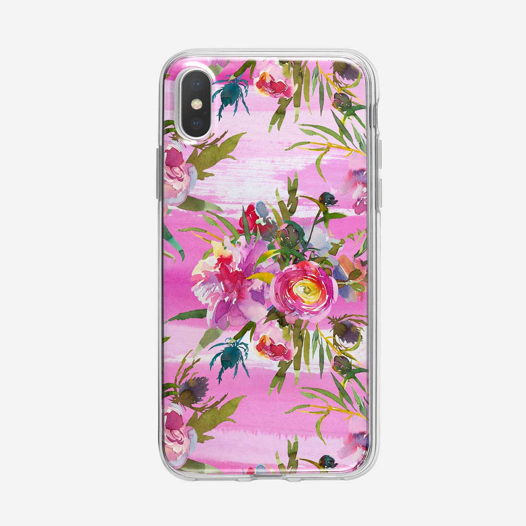 Floral Watercolor on Pink iPhone Case From Tiny Quail