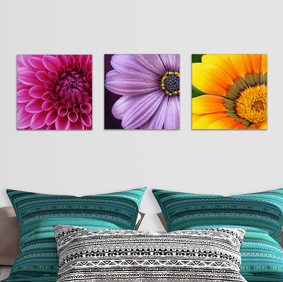 Colorful 3 Piece Floral Glass Photo Wall Art Collection From Tiny Quail
