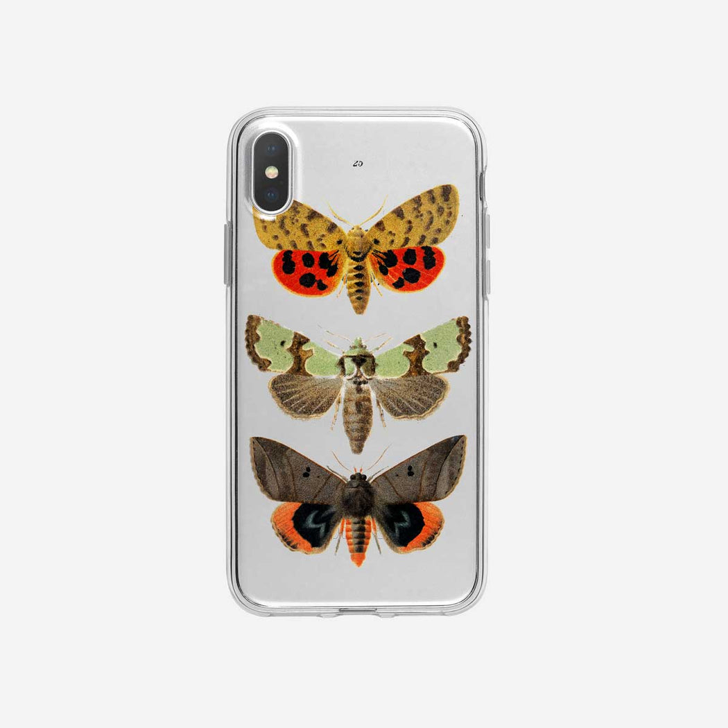 Colorful Fluttering Moths Clear iPhone Case from Tiny Quail
