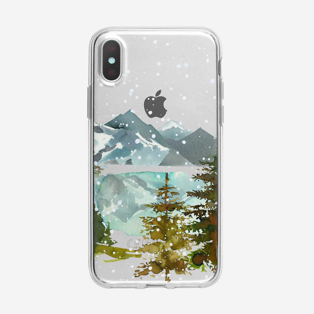 Snowing Forest Lake iPhone Case from Tiny Quail