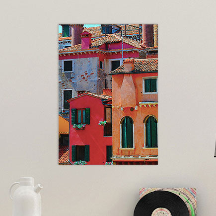 Brightly Colored Old World Houses Glass Wall Art From Tiny Quail