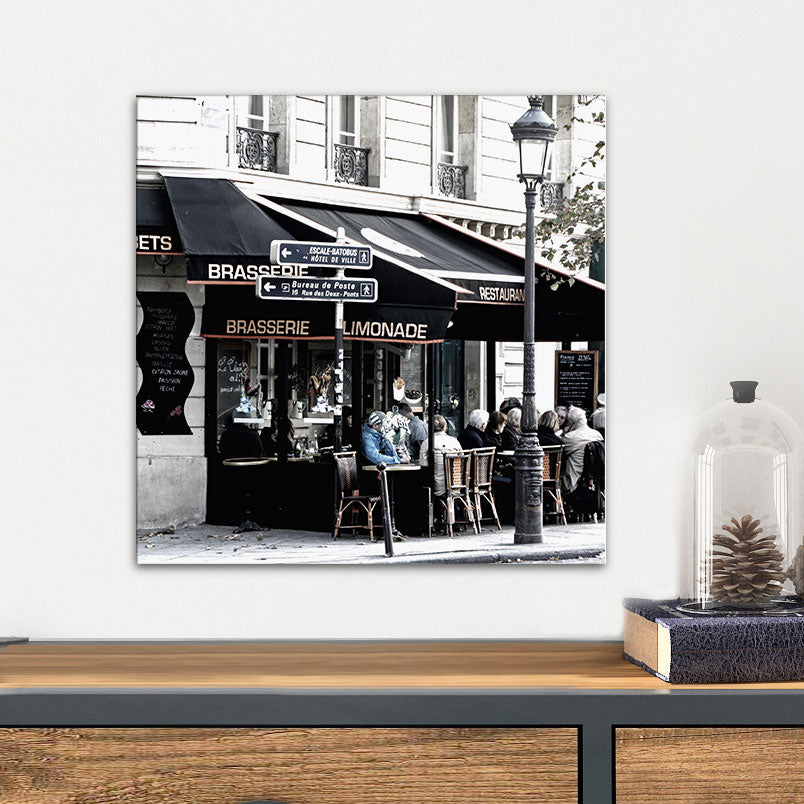 Black & White French Cafe Glass Photo Wall Art From Tiny Quail