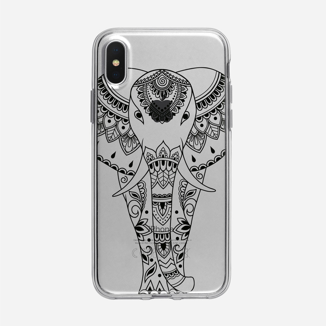 Black Ornate Elephant iPhone Case from Tiny Quail