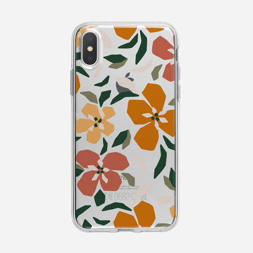 Funky Colorful Orange Floral Pattern Clear iPhone Case from Tiny Quail