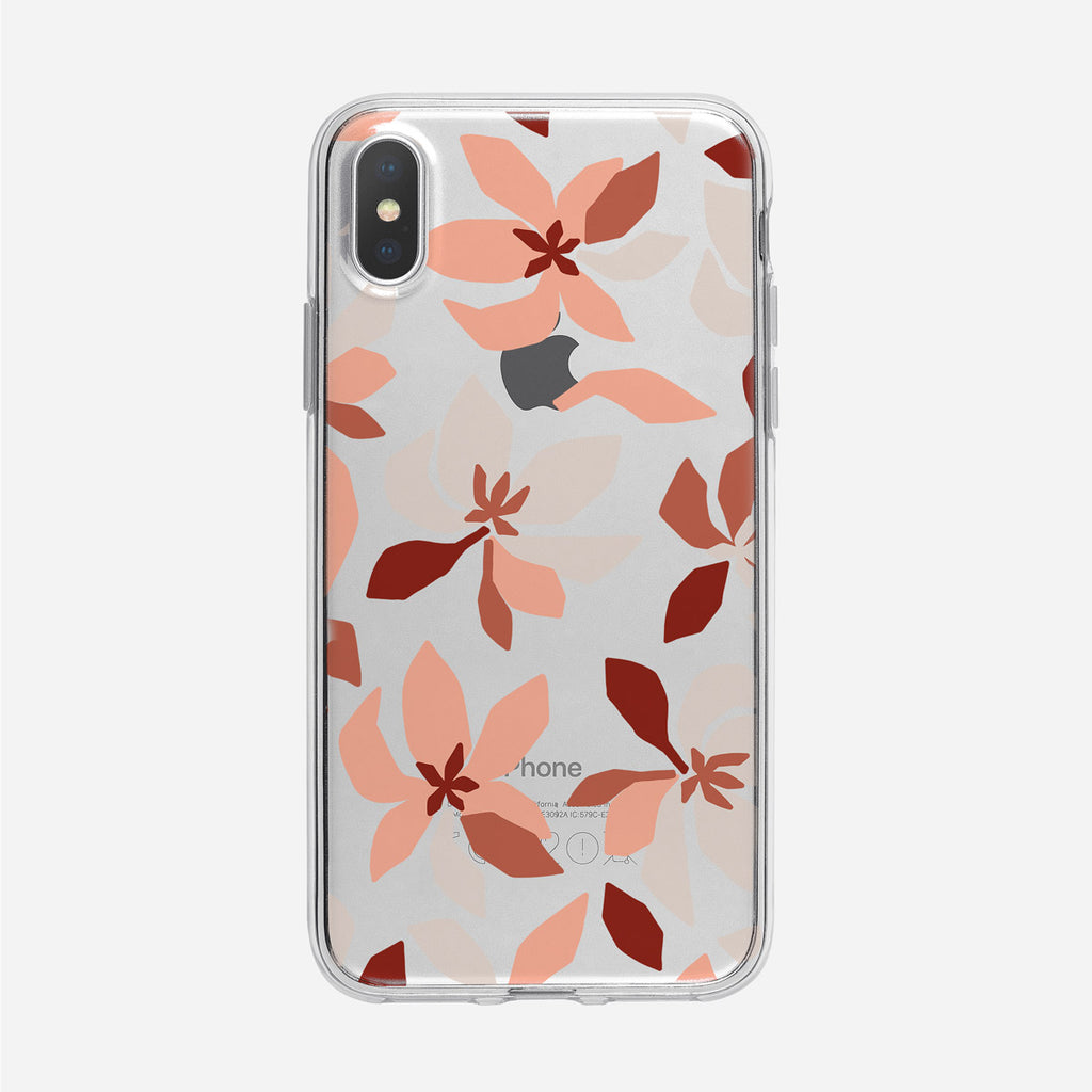 Funky Colorful Peach Floral Pattern Clear iPhone Case from Tiny Quail