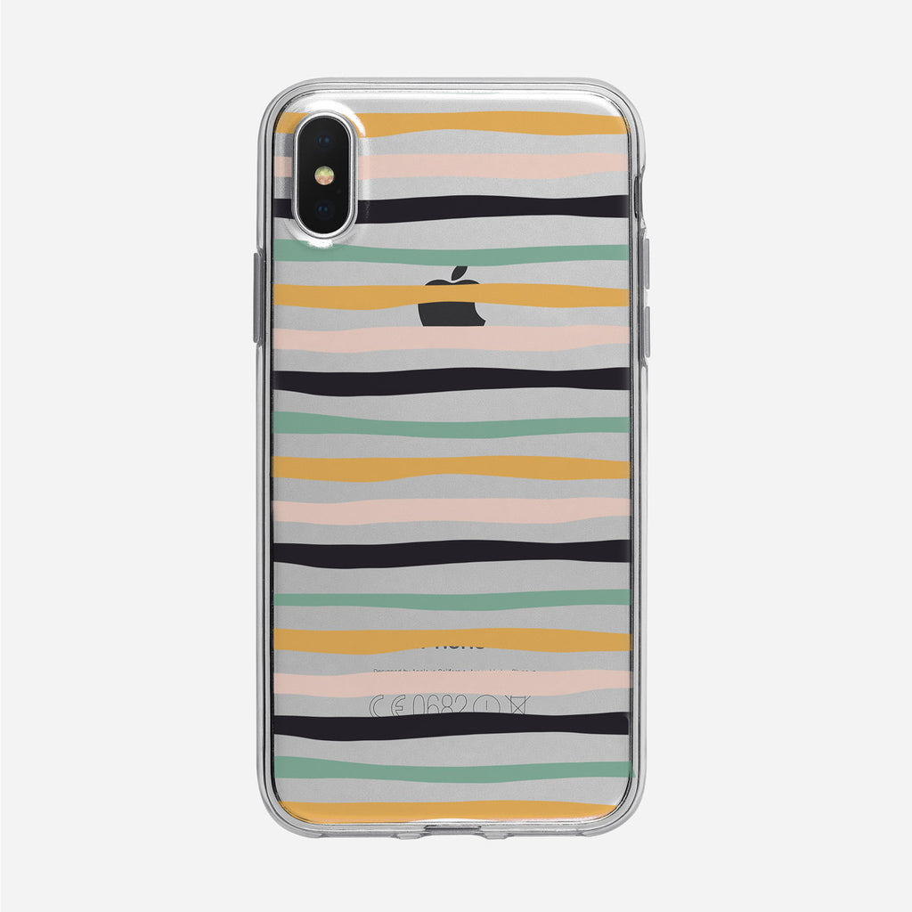 Funky Colorful Stripes Pattern Clear iPhone Case from Tiny Quail