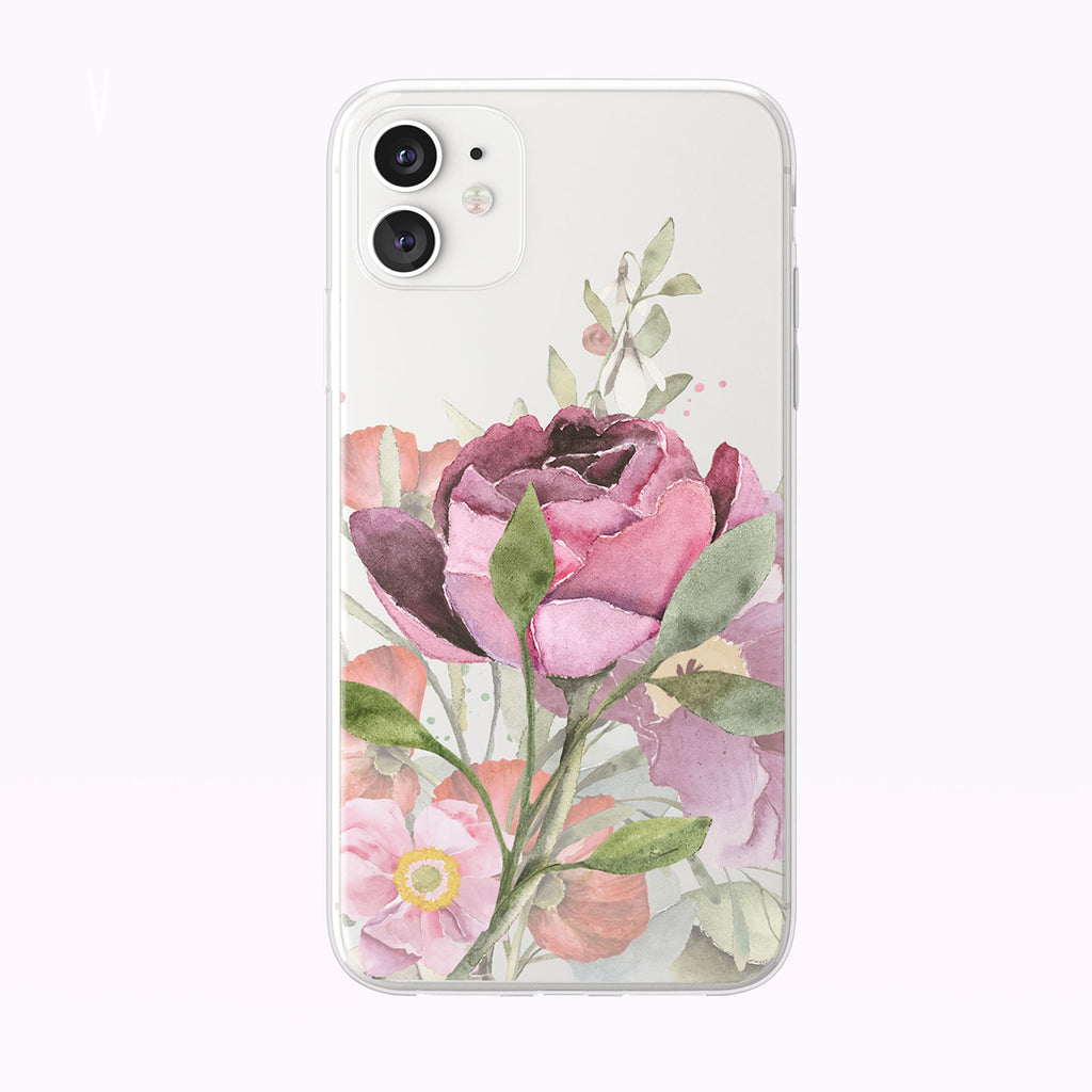 Garden Floral Rose Bouquet Clear iPhone Case from Tiny Quail