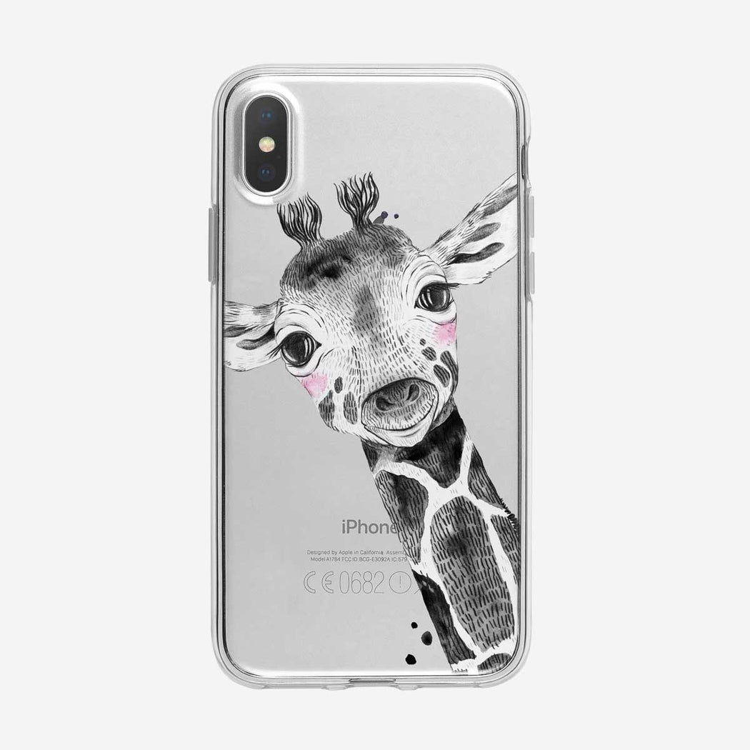 Pink Cheeked B&W Baby Giraffe Clear iPhone Case from Tiny Quail