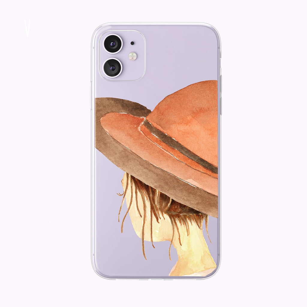 Watercolor Girl With Summer Hat Clear iPhone Case from Tiny Quail