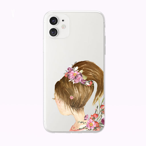 Girl With Floral Crown Clear iPhone Case from Tiny Quail