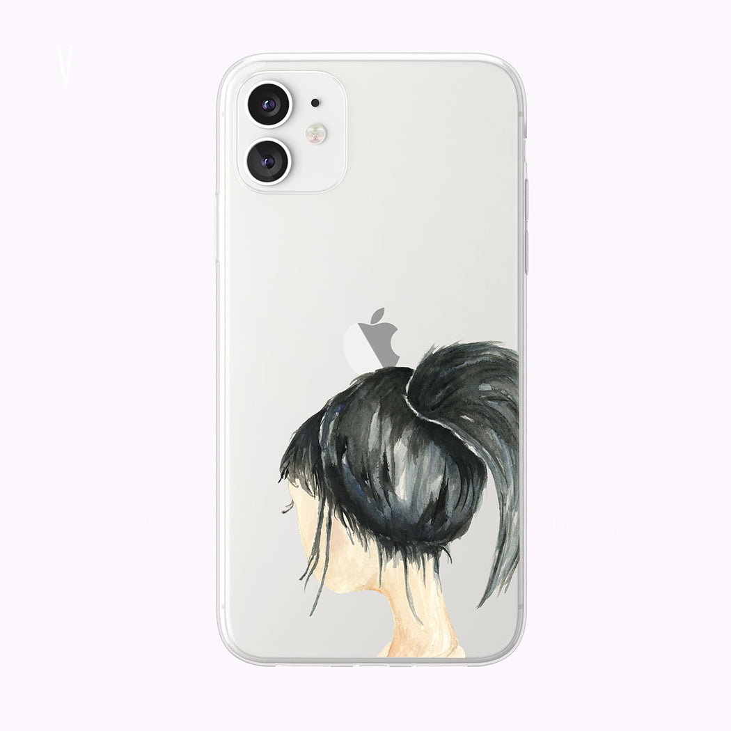 Cute Watercolor Girl With Ponytail Clear iPhone Case from Tiny Quail