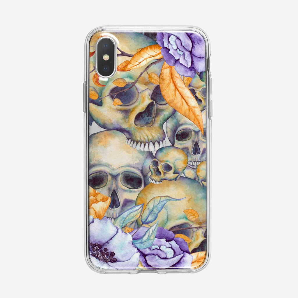Watercolor Floral and Skulls Pattern iPhone Case From Tiny Quail