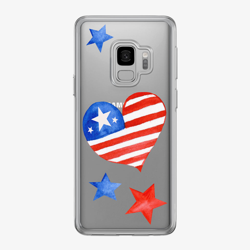 Patriotic Heart and Stars Samsung Galaxy Phone Case by Tiny Quail