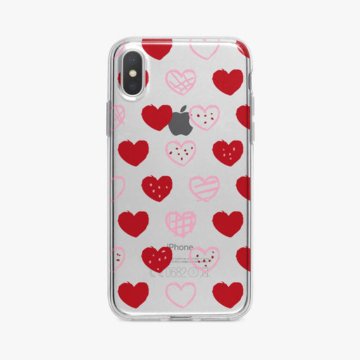 Cute Red and Pink Hearts iPhone Case by Tiny Quail