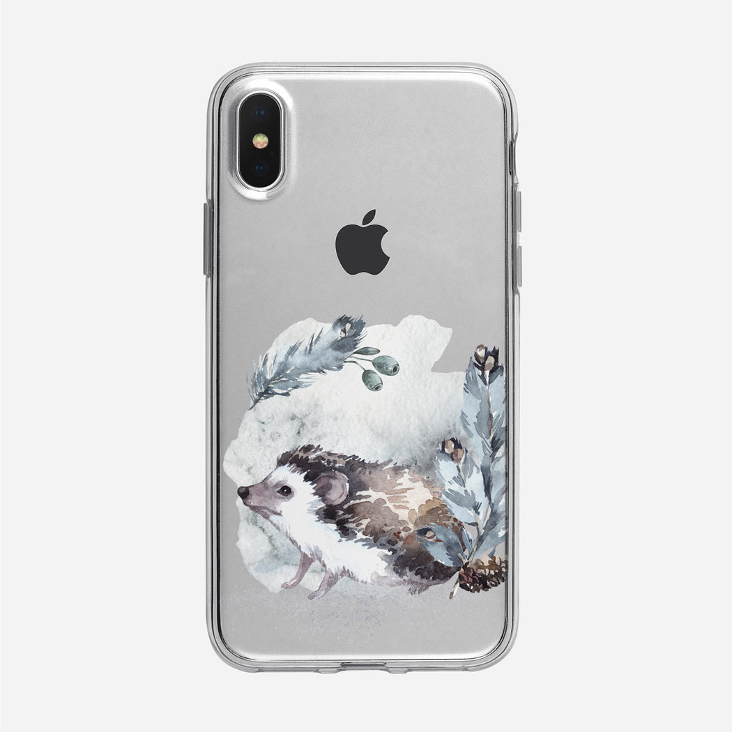 Snowy Forest Hedgehog iPhone Clear Case from Tiny Quail