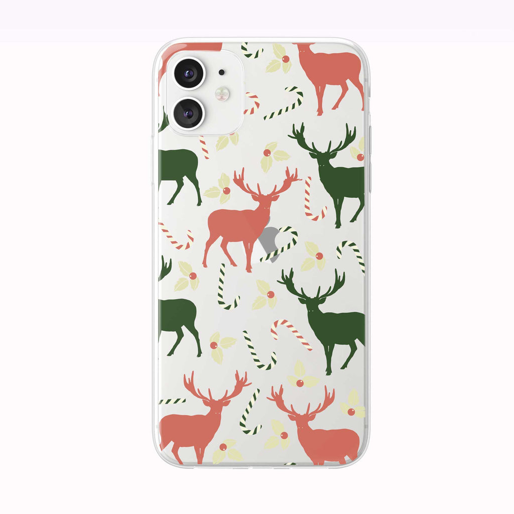 Deer and Candy Cane Pattern white iPhone Case from Tiny Quail