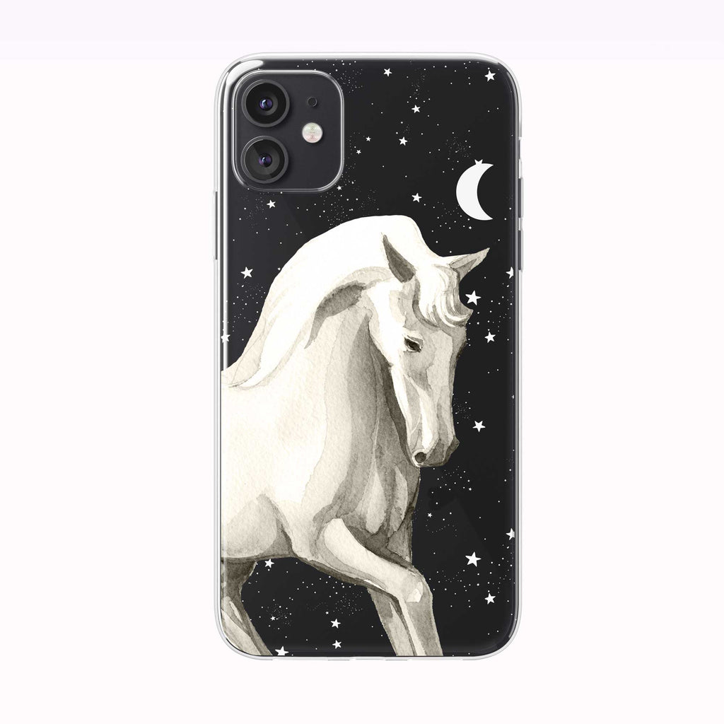 Mystical Nighttime Horse Black iPhone Case from Tiny Quail