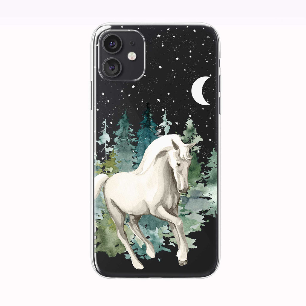 Mystical Nighttime Forest Horse Black iPhone Case from Tiny Quail