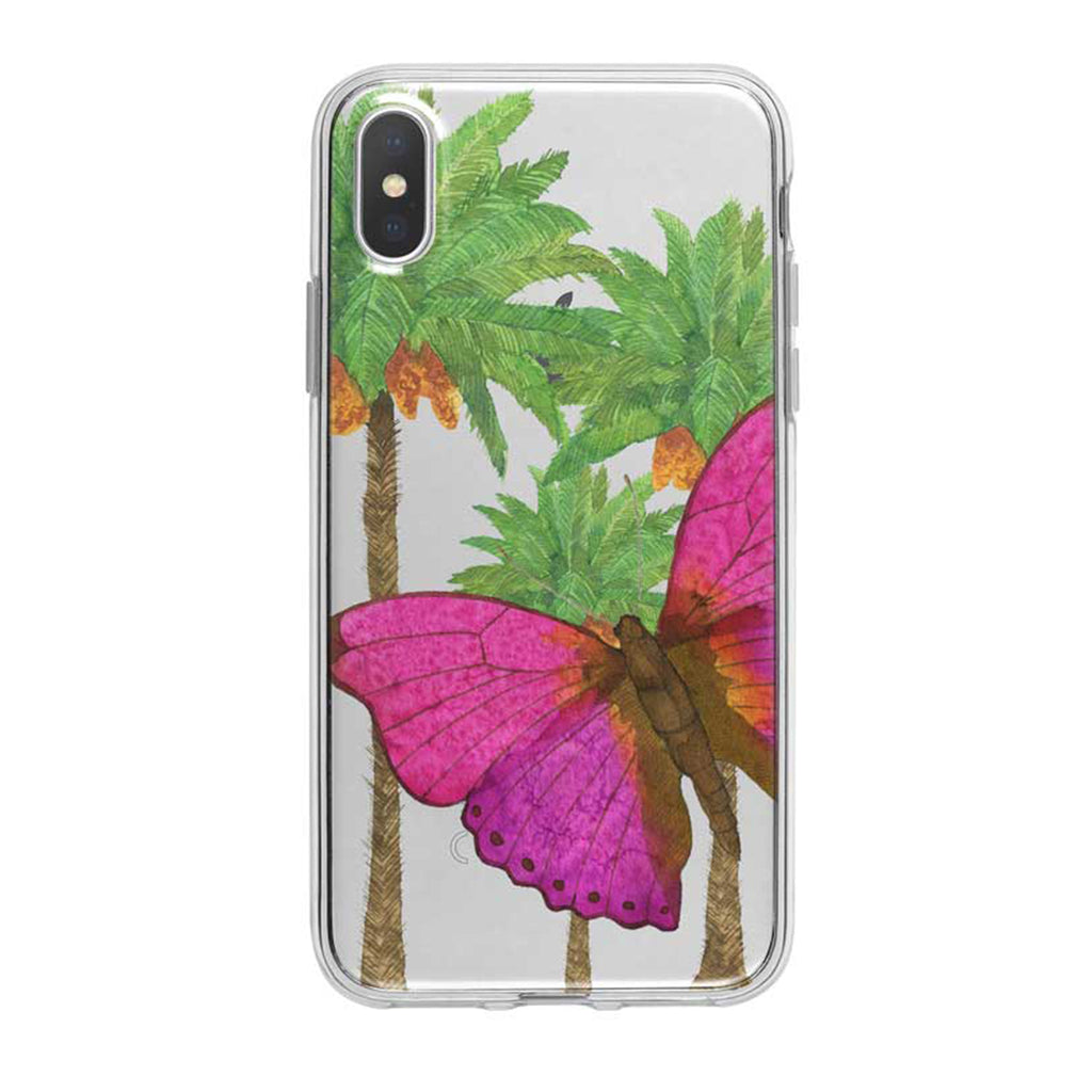 Hot Pink Tropical Butterfly iPhone Case by Tiny Quail