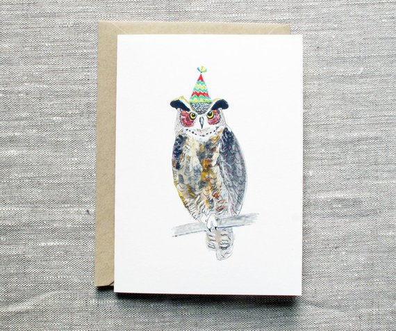 Owl with Birthday Hat Unique Birthday Card From Snoogs and Wilde