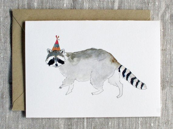 Raccoon With Birthday Hat Unique Birthday Card From Snoogs and Wilde