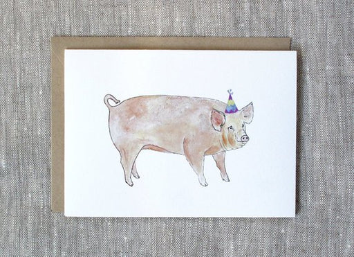 Pig With Birthday Hat Unique Birthday Card From Snoogs and Wilde