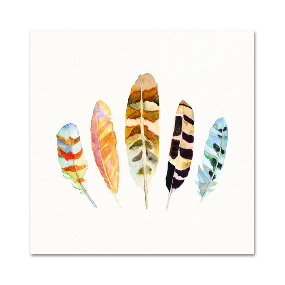 Feathers Watercolor Archival Wall Art Print From Snoogs and Wilde