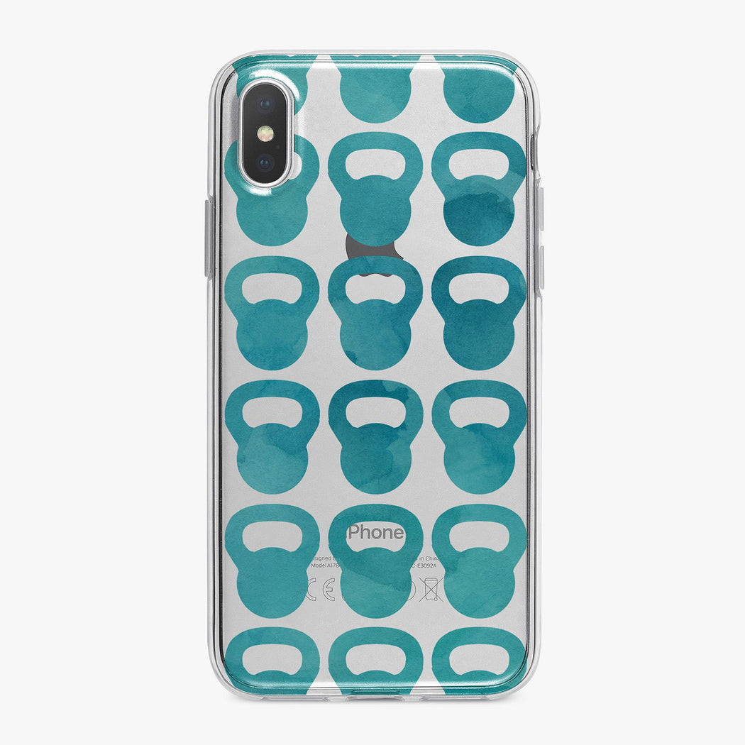Blue Watercolor Kettle Balls Fitness Designer iPhone Case From Tiny Quail
