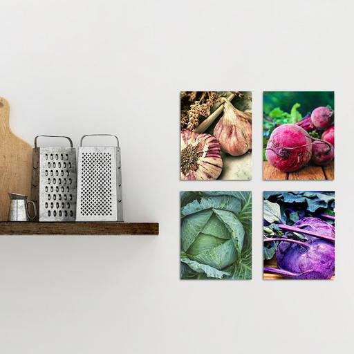 Vegetable Glass Photo Wall Art 4 Piece Set From Tiny Quail