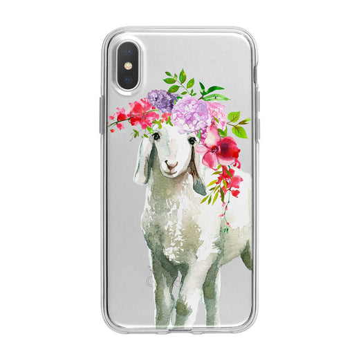 Cute Floral Lamb Clear iPhone Case from Tiny Quail