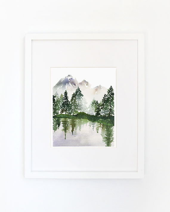 Evergreens On A Lake Archival Wall Art Print by Yao Cheng Design