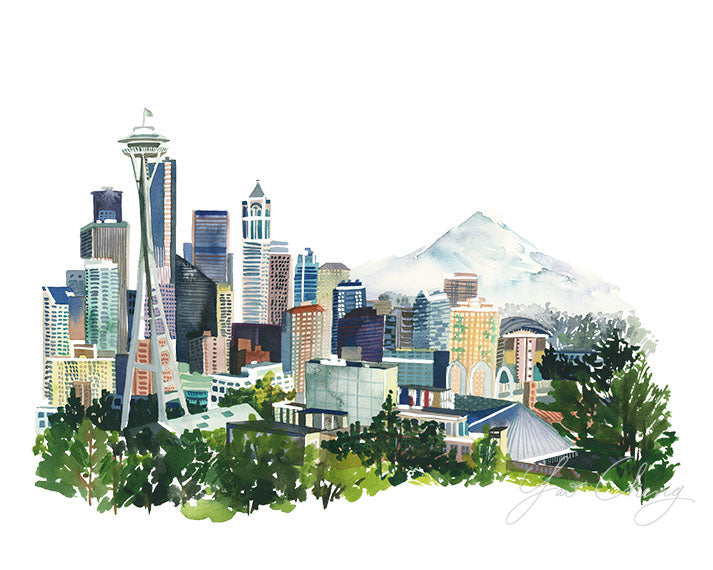 Seattle Watercolor Archival Wall Art Print by Yao Cheng Design without frame