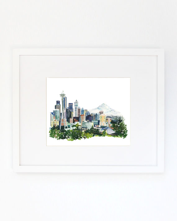 Seattle Watercolor Archival Wall Art Print by Yao Cheng Design
