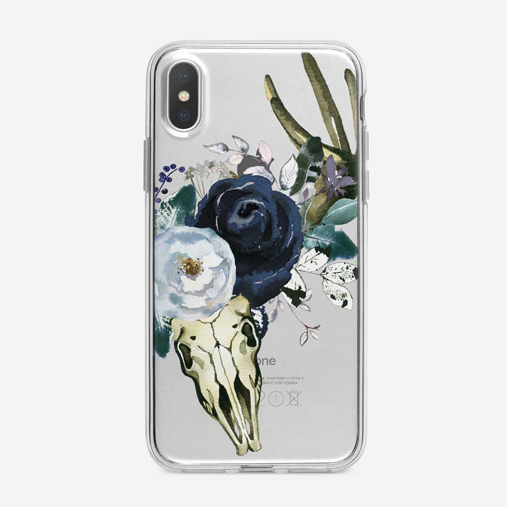 Large Boho Floral Skull Clear iPhone Case from Tiny Quail