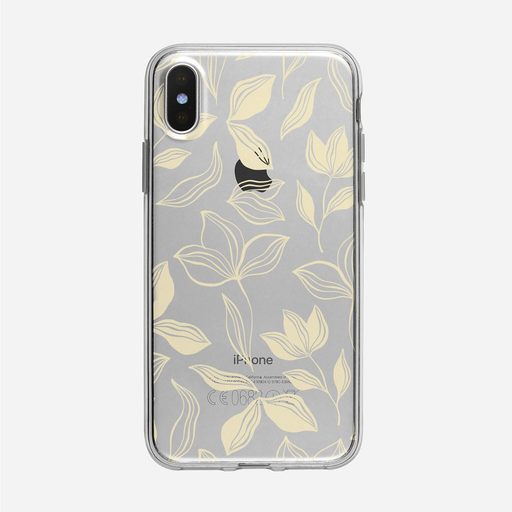 Pale Leafy Pattern Clear iPhone Case from Tiny Quail