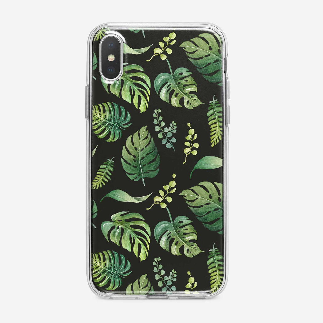 Watercolor Tropical Leaves on Black iPhone Case from Tiny Quail.