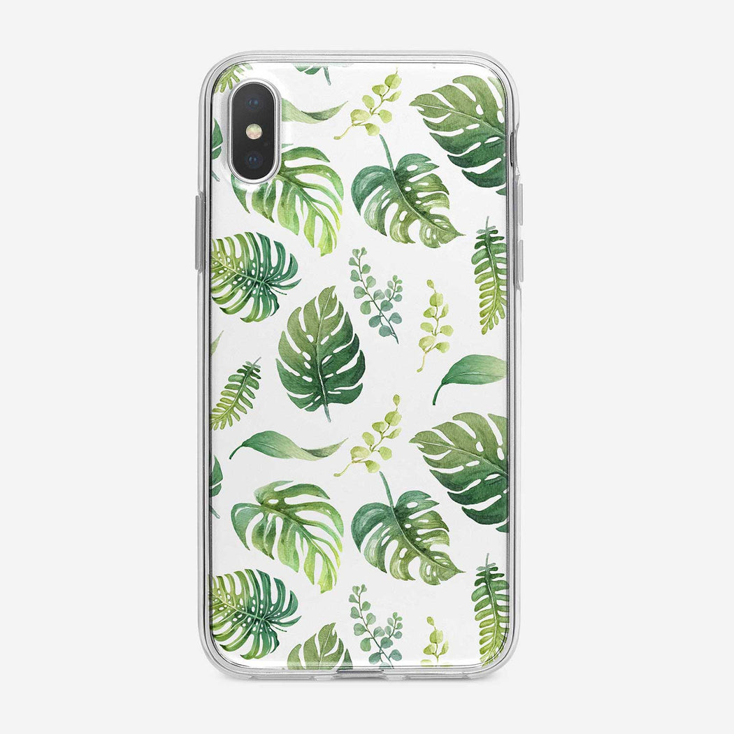 Watercolor Tropical Leaves on White iPhone Case from Tiny Quail.