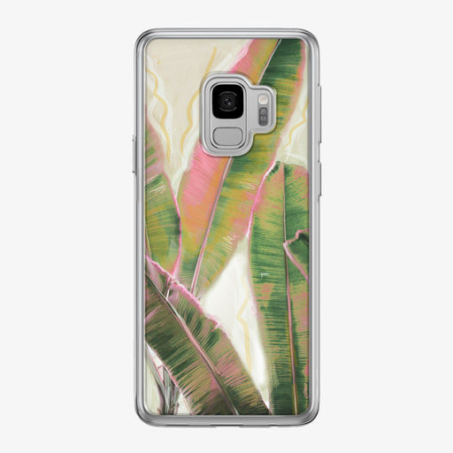 Pink and Green Tropical Leaves Samsung Galaxy Phone Case by Tiny Quail