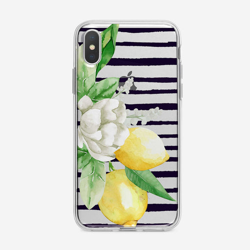 Floral Lemon Branch Striped iPhone Case by Tiny Quail