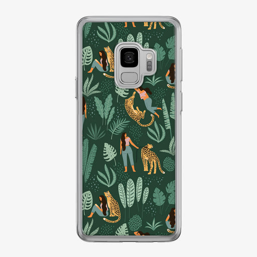 Jungle Leopard with Woman Pattern Samsung Galaxy Phone Case by Tiny Quail