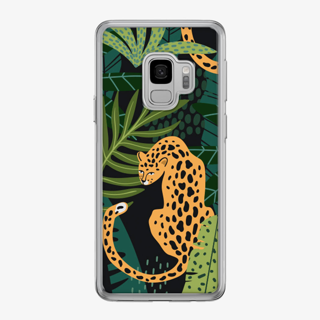 Leopard sitting in colorful jungle samsung phone case by Tiny Quail