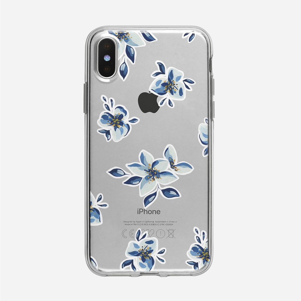 Simple Blue Floral Pattern Clear iPhone Case from Tiny Quail