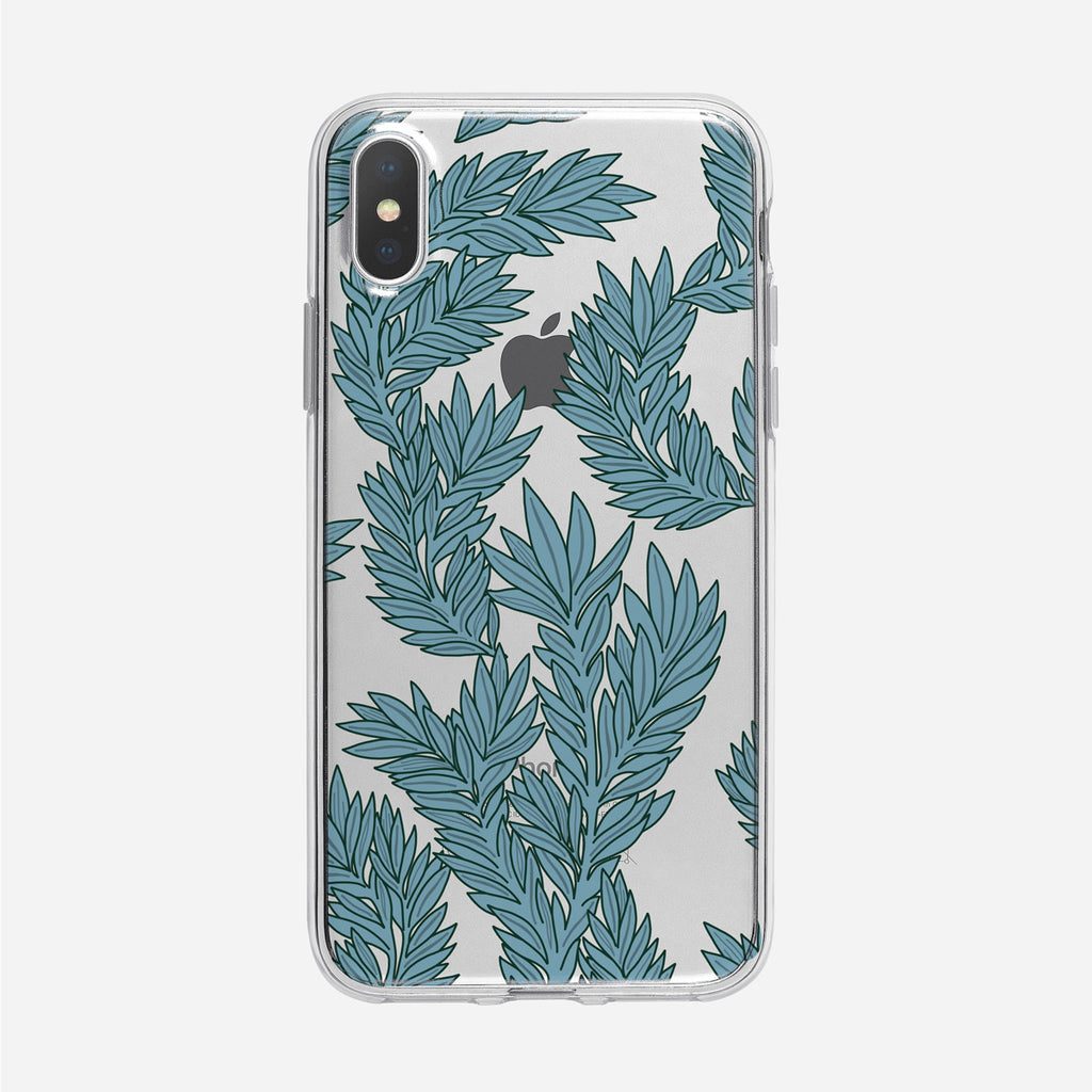 Art Nouveau Blue Leaves Clear iPhone Case from Tiny Quail