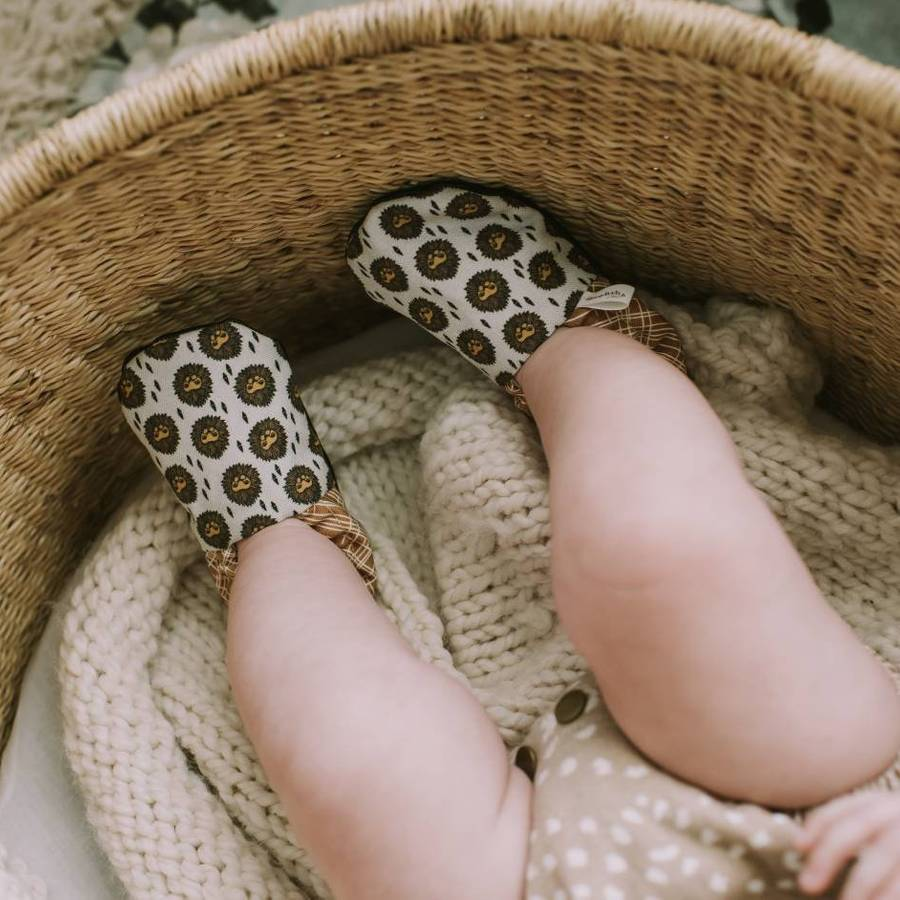 Lion Organic Baby Moccs From Weepereas on a baby