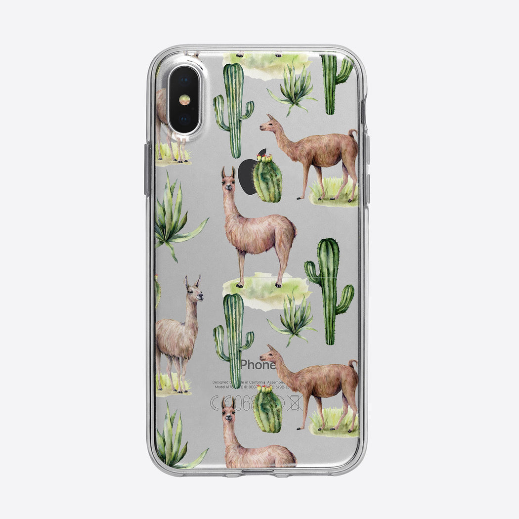 Cactus and Llamas Pattern iPhone Case from Tiny Quail