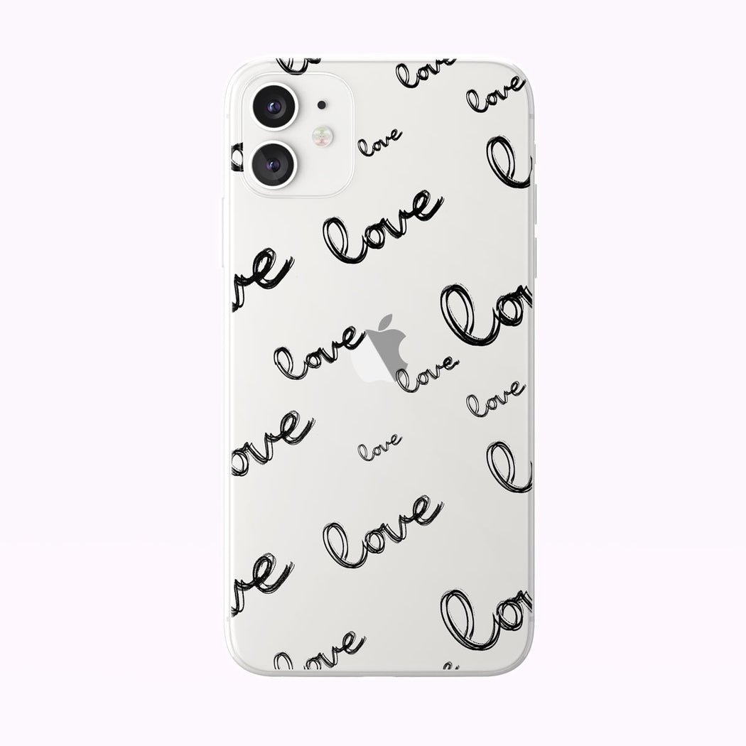 Hand Drawn Love Pattern Clear iPhone Case from Tiny Quail