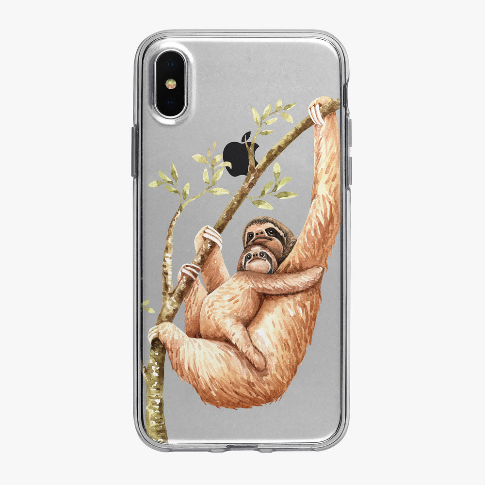 Cute Watercolor Sloth Mom and Baby iPhone Case From Tiny Quail