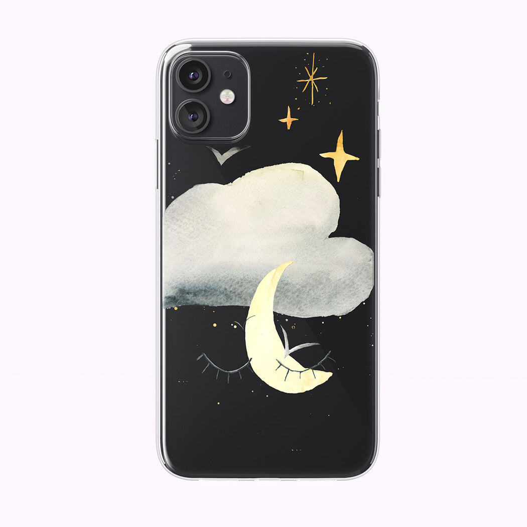 Magical Moon With Eyes Clear iPhone Case from Tiny Quail