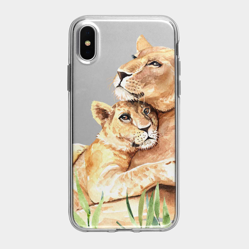Mother Lioness and Cub iPhone Case From Tiny Quail