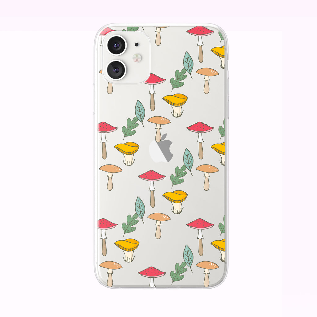 Mushroom and Forest Leaves Pattern iPhone Case from Tiny Quail